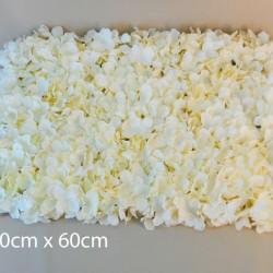 Artificial Hydrangea Flower Wall Panel 40cm x 60cm Cream - H189