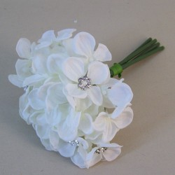 Artificial Hydrangeas Posy Ivory with Crystals and Pearls - H095 F3