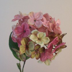 Downton Silk Hydrangea Flowers Pink - H080 G2
