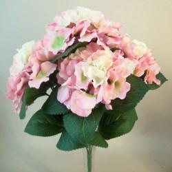 Silk Hydrangeas Bush Soft Pink and Cream - H040 FF2