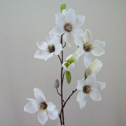 Luxury Artificial Magnolias on Branch Cream - M051 J1