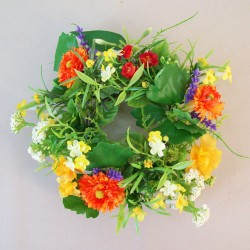 Artificial Cottage Garden Flowers Large Candle Ring 24cm - C190 BX6