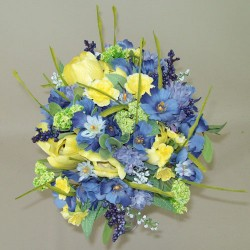 Artificial Meadow Flowers Bouquet | Blue & Yellow With Tulips - MF413-240 BX15