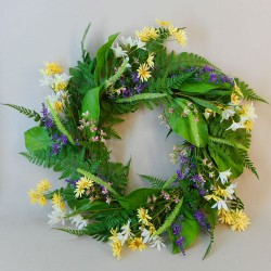 Artificial Meadow Flowers Wreath - MED007 HH3