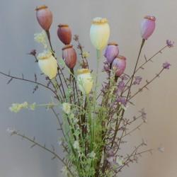 English Meadow Artificial Flowers Poppy Seed Heads Lemon - P250