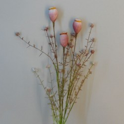 English Meadow Artificial Flowers Poppy Seed Heads Pink - P251