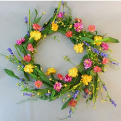 English Meadow Spring Flowers Wreath - MED051 J3
