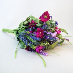 Artificial Meadow Flowers Bouquet Dark Pink and Purple Flowers - MF410-112a J3