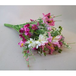 Artificial Meadow Flower Bouquet Magenta Pink Large - MF808B K3