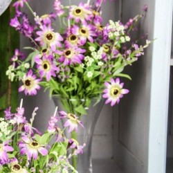Artificial Meadow Flower Bouquet Lilac Wild Flowers  - MF262B R4