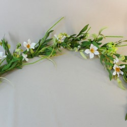 Artificial Meadow Flowers Garland White and Green Flowers - M089 GG4