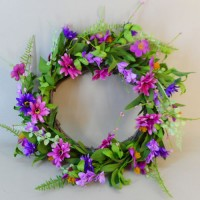 Artificial Meadow Flowers Wreath or Centrepiece Pink and Purple - M083 FR6B