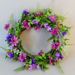 Artificial Meadow Flowers Wreath or Centrepiece Pink and Purple - M083 GG4