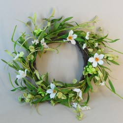 Artificial Meadow Flowers Wreath or Centrepiece White and Green Flowers - M088 GG4