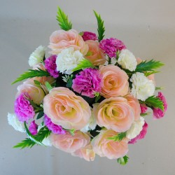 Artificial Roses and Carnations Bouquet Peach Pink - R092 T2