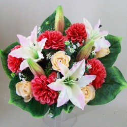 Zinnia Lilies and Roses Bouquet Pink Coral - Z028 GG1