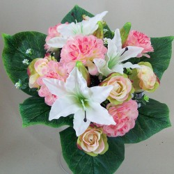 Zinnia Lilies and Roses Bouquet Pink White - Z026 GG1