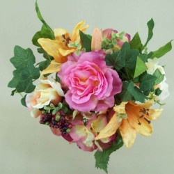 Roses Lilies and Hydrangeas Bunch Pink and Peach - R017A
