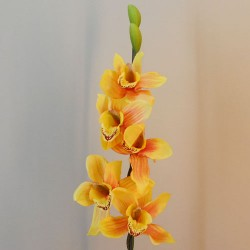 Artificial Cymbidium Orchid Yellow and Orange - O036 AA1