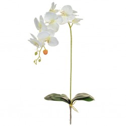 Artificial Phalaenopsis Orchids Plant White without Pot 96cm - O151 I4