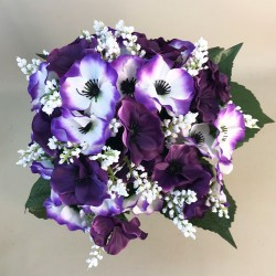 Artificial Pansies Bouquet Purple and White - P076 FF4