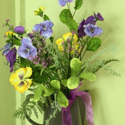Artificial Pansies Bouquet Yellow Blue and Purple Flowers - MF413-860BQ BX6