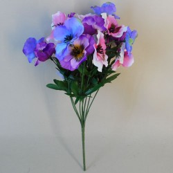 Artificial Pansy Plants Pink Purple and Blue Mix - P068 K2
