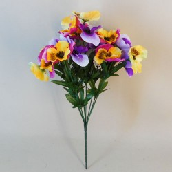 Artificial Pansy Plants Pink Purple and Yellow Mix - P075 BX19