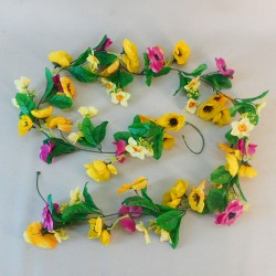 Artificial Spring Flowers Garland Pink Yellow - SPR001 R2