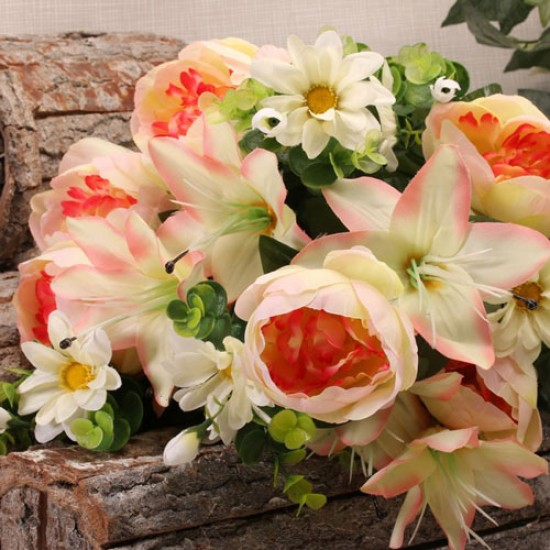 Artificial Flowers Posy   Peach Peonies Lilies and Daisies  - P090 L1