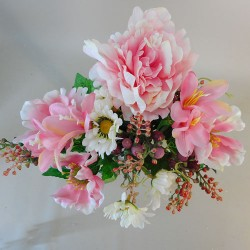 Fleur Artificial Flowers Bouquet Peony and Daisies Pink - P235 L3