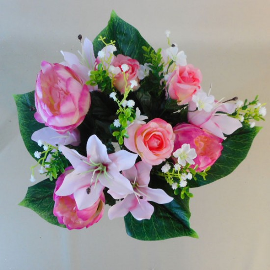 Artificial Flowers Posy | Pink Peonies Lilies and Roses  - P091 M2