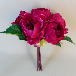 Artificial Peony Flowers Hand Tied Posy Hot Pink - P097 M2