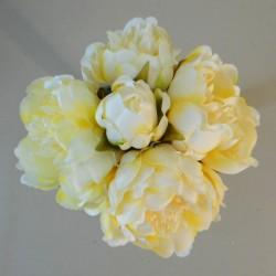 Artificial Peony Posy Lemon Yellow - P096 J4