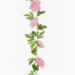 Artificial Peony Flowers Garland Pale Pink 180cm - P197 EE2