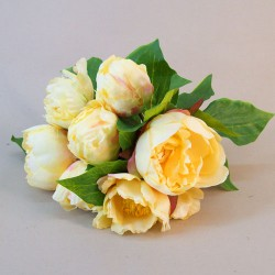 Artificial Peony Flowers Hand Tied Posy Yellow - P156 J2