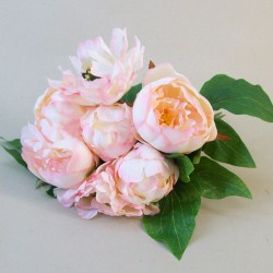 Artificial Peony Flowers Hand Tied Posy Pale Pink - P155