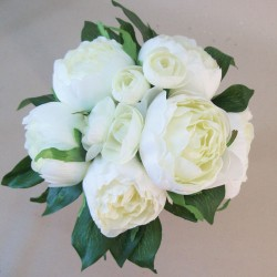Artificial Peony Flowers Hand Tied Posy Cream - P136 L4