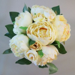 Artificial Peony Flowers Hand Tied Posy Lemon - P136a L3