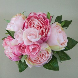 Artificial Peony Flowers Hand Tied Posy Pink - P135 M4