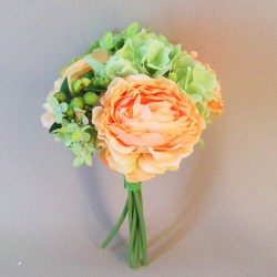 Artificial Peony Roses and Hydrangeas Posy Peach Green - P211 L2