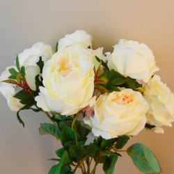 Bunch of Artificial Peony Roses Cream (10 Flowers) - P021  AA4