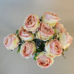 Bunch of Artificial Peony Roses Vintage Pink (10 Flowers) - P045 H1