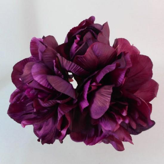 Peony Flowers Hand Tied Posy Aubergine Plum - P102 L1