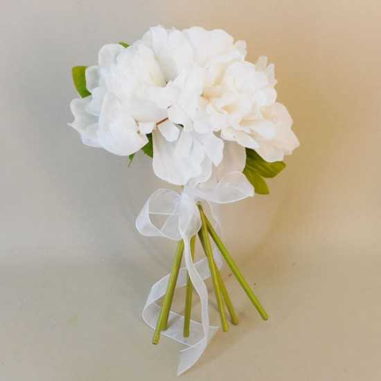 Fleur Artificial Peony Flowers Hand Tied Posy Cream - P040 EE3