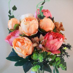 Vintage Peony Bouquet Apricot and Dusky Pink - P105 J1