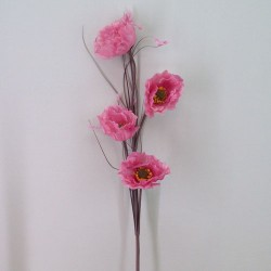 Artificial Poppies Dusky Pink 4 Flowers - P129 BX 8
