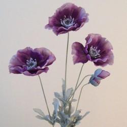 Artificial Poppies Aubergine Purple - P049 KK1