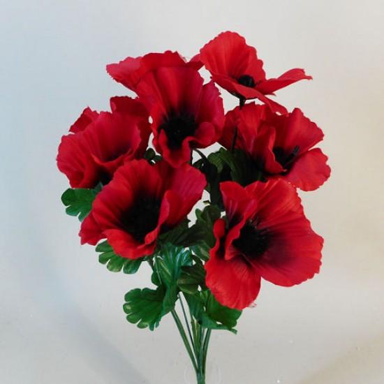 Fleur Artificial Poppy Bunch Red - P098