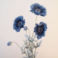 Artificial Poppies Dusky Blue with Grey Leaves - P127 BX19